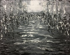 Reflections in Grey 2-12-18, Painting, Acrylic on Canvas