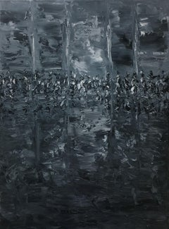 Reflections in Grey 8-24, Painting, Oil on Canvas