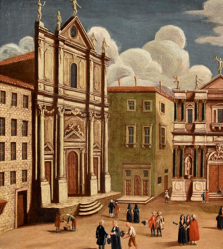 Gabriele Bella Venice Landscape 18th Century paint Oil on canvas Old master View For Sale 11