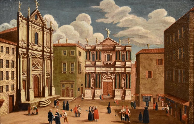 Gabriele Bella (Venice 1730–1799), attributed Pair of Venetian views: The Fondaco dei Tedeschi / Campo San Salvador  oil on canvas, 50 x 77 cm. with frame 59 x 85 cm.  Provenance: 21 April 2010 Vienna Dorotheum  Exhibitions: Rare old paintings.