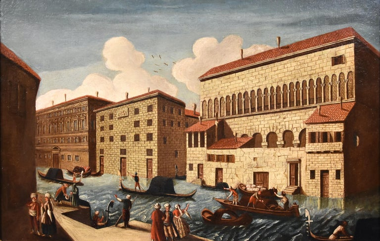 Gabriele Bella Venice Landscape 18th Century paint Oil on canvas Old master View For Sale 1