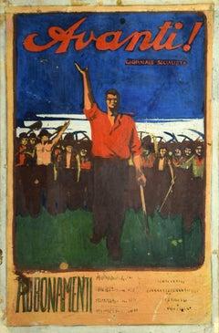 Forward - Original Mixed Media by Gabriele Galantara - Early 20th Century