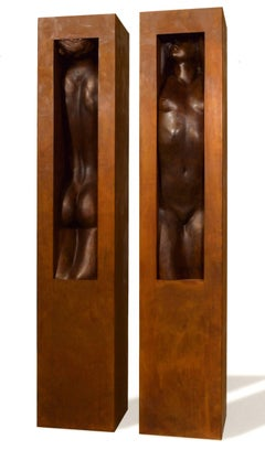 Adam and Eve. Italian school Contemporary bronze sculpture, Nude Man and Woman
