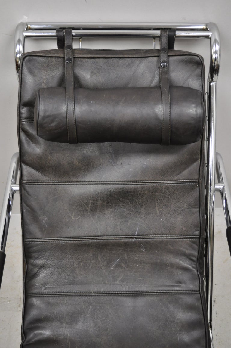 Gabriele Mucchi for Zanotta Genni Brown Leather Chrome Lounge Chair and Ottoman For Sale 5