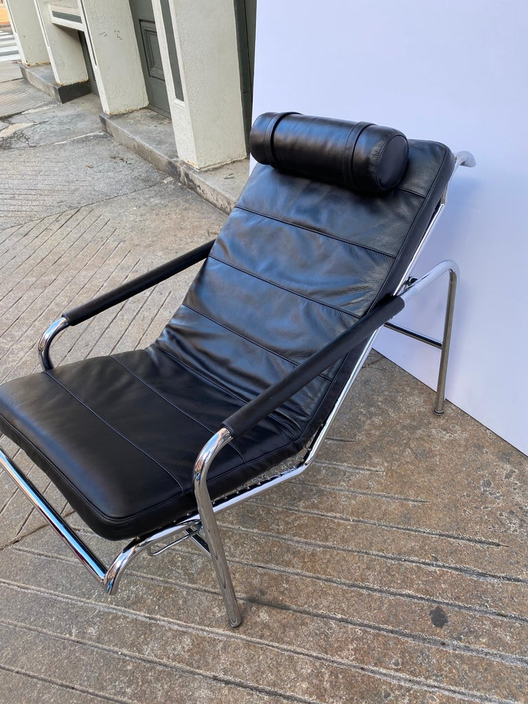 Gabriele Mucchi Genni Chrome and Leather Lounge Chair for Zanotta For Sale 4