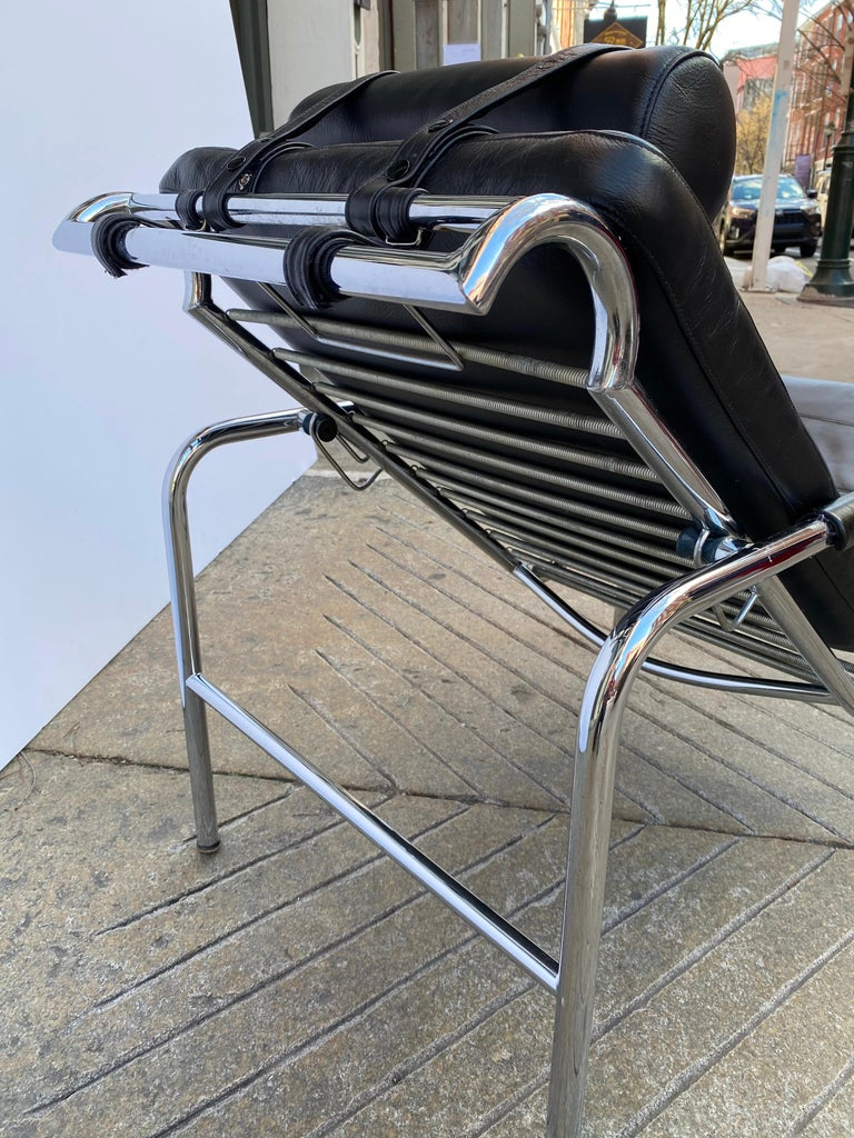 Gabriele Mucchi Genni Chrome and Leather Lounge Chair for Zanotta For Sale 5