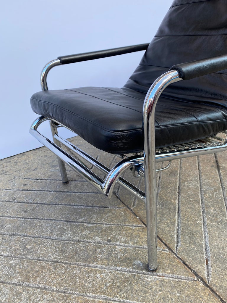 Late 20th Century Gabriele Mucchi Genni Chrome and Leather Lounge Chair for Zanotta For Sale