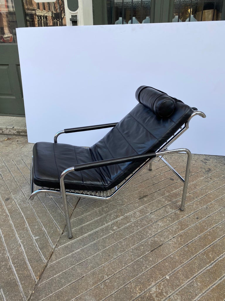 Gabriele Mucchi Genni Chrome and Leather Lounge Chair for Zanotta For Sale 1