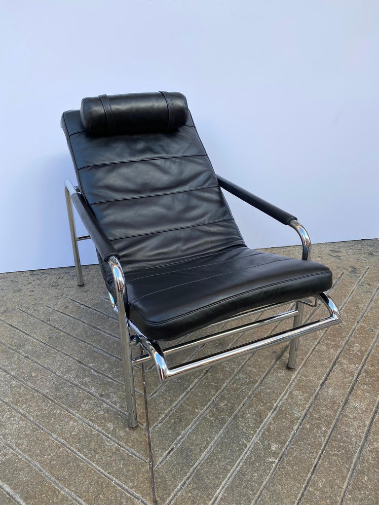 Gabriele Mucchi Genni Chrome and Leather Lounge Chair for Zanotta For Sale 2