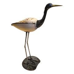 Gabriella Binazzi 1970s Silver Plated Handcrafted Bird with Seashell Body