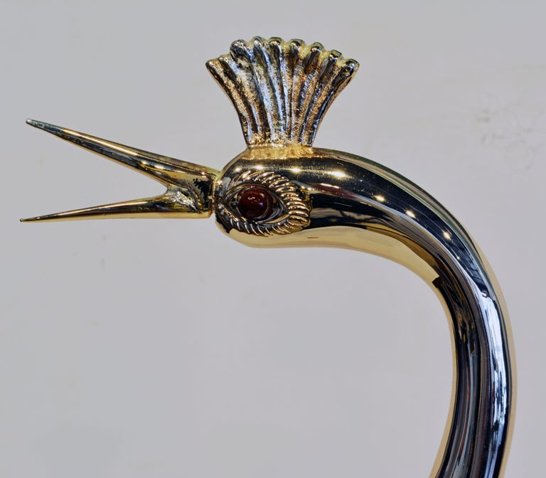Gabriella Binazzi Design Silver and Gold Plated Crane with Sea Shell Body In Good Condition For Sale In Ft. Lauderdale, FL