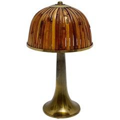 Gabriella Crespi Bamboo Brass Fungo Table Lamp Rising Sun Series, 1973, Italy
