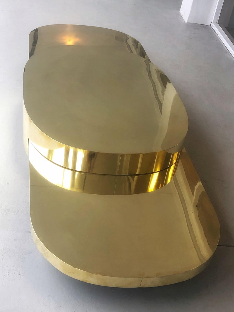 Gabriella Crespi Ellisse Brass Coffee Table, 1976 For Sale 1