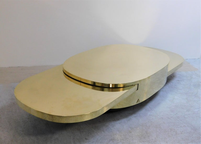Gabriella Crespi Ellisse Brass Coffee Table, 1976 For Sale 3