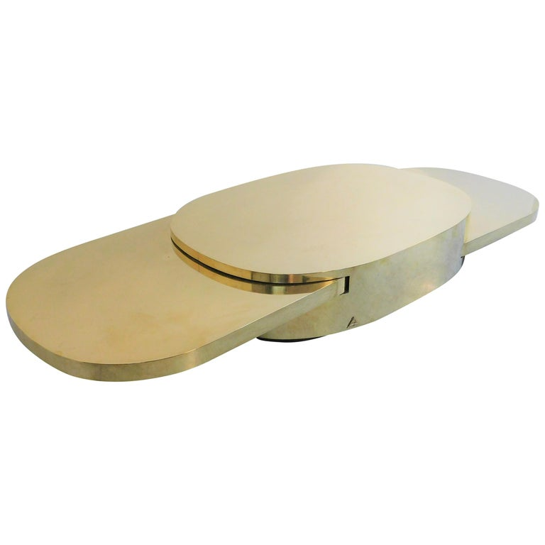 Gabriella Crespi Ellisse Brass Coffee Table, 1976 For Sale