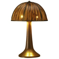 Gabriella Crespi 'Fungo' Table Lamp in Brass and Bamboo