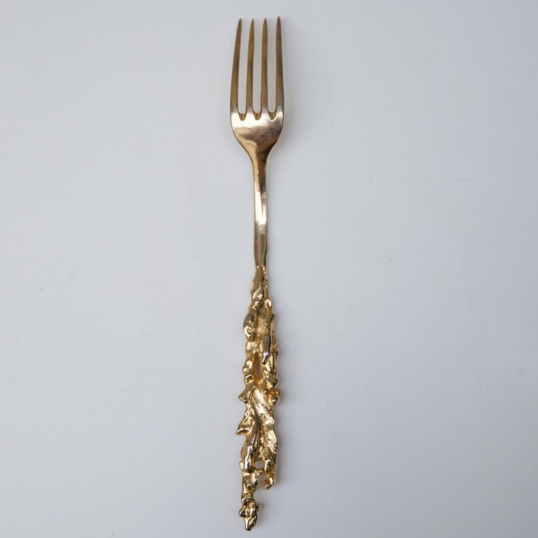 Italian Gabriella Crespi Gocce Oro 24-Carat Gilded Fork Signed For Sale