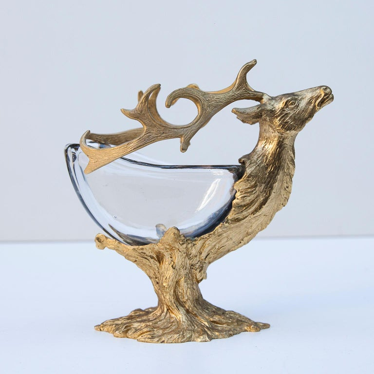 Gorgeous detailed gold-plated bronze deer sculpture bowl by Gabriella Crespi from the 1970s. The central body is composed of a Murano glass bowl. Signed on the bottom. This piece is in excellent condition.