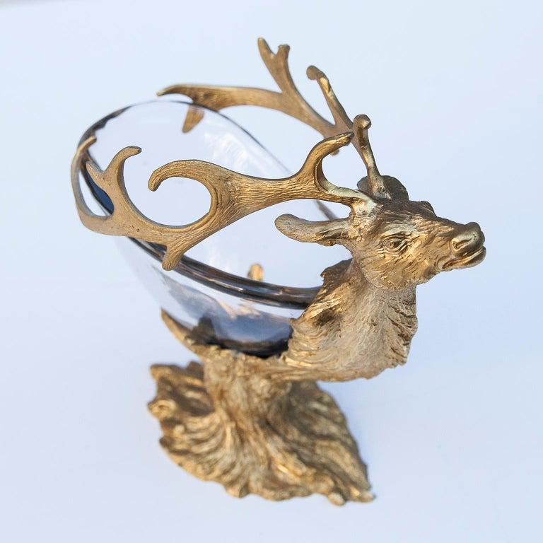 Gilt Gabriella Crespi Golden Deer Glass Bowl