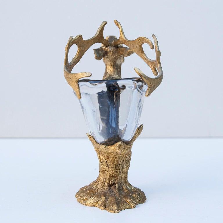 Gabriella Crespi Golden Deer Glass Bowl In Excellent Condition In Munich, DE