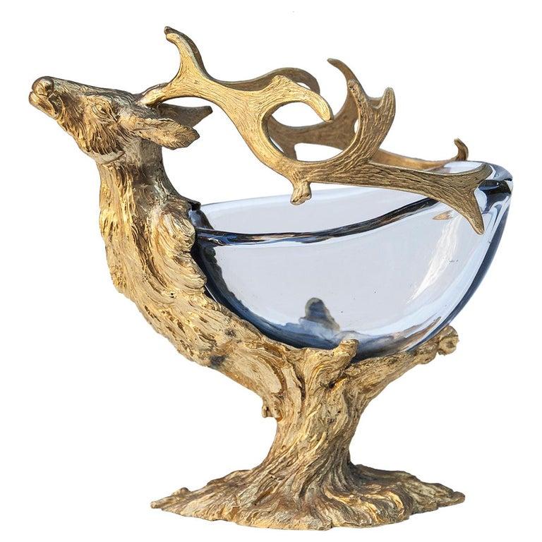 Gabriella Crespi Golden Deer Glass Bowl
