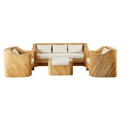 Organic Modern Bamboo Rattan Sofa and Lounge Chairs