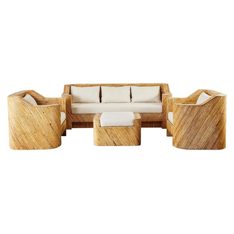 Organic Modern Bamboo Rattan Sofa and Lounge Chairs For Sale