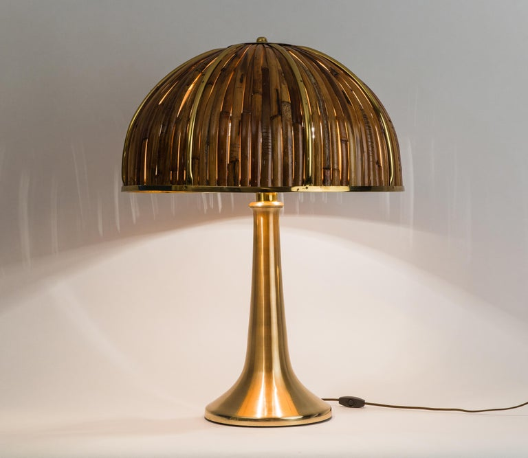Gabriella Crespi Large Bamboo and Brass 'Fungo' Table Lamp For Sale 7