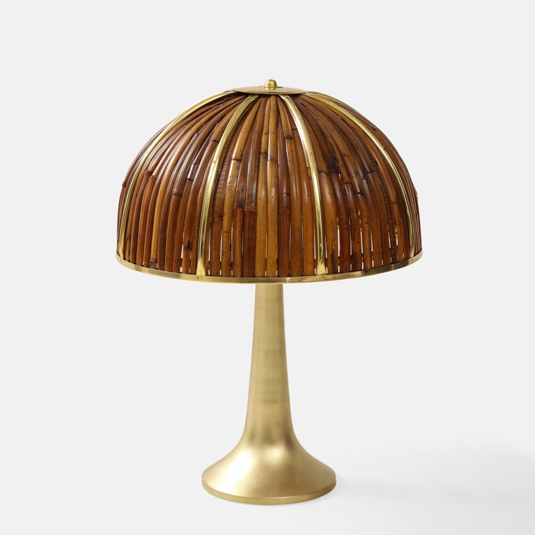 Mid-Century Modern Gabriella Crespi Large Bamboo and Brass 'Fungo' Table Lamp For Sale