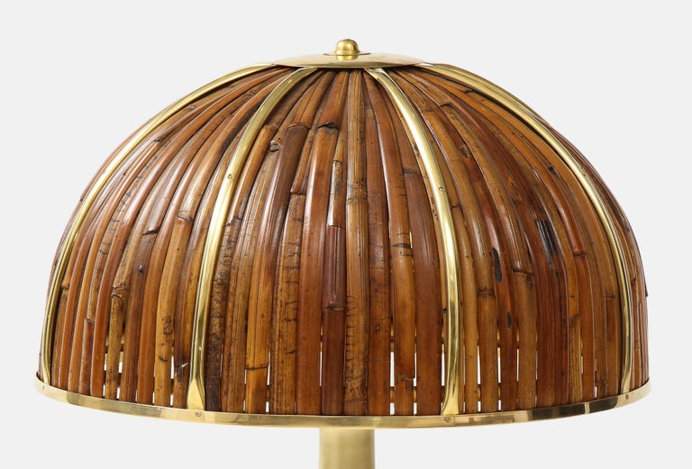 Brushed Gabriella Crespi Large Bamboo and Brass 'Fungo' Table Lamp For Sale