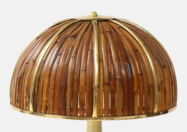 Gabriella Crespi Large Bamboo and Brass 'Fungo' Table Lamp In Good Condition For Sale In New York, NY