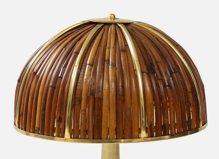 Late 20th Century Gabriella Crespi Large Bamboo and Brass 'Fungo' Table Lamp For Sale