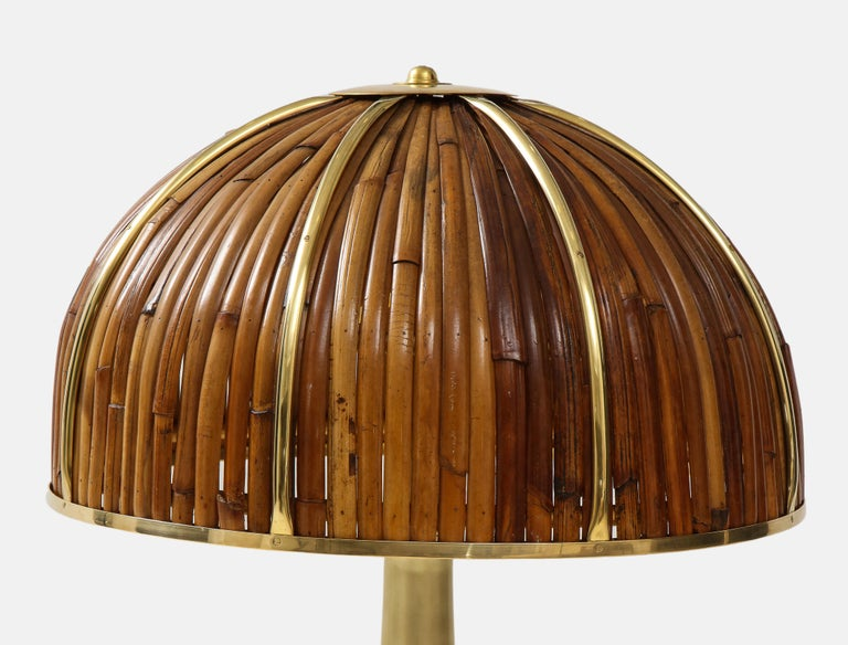 Gabriella Crespi Large Bamboo and Brass 'Fungo' Table Lamp For Sale 1