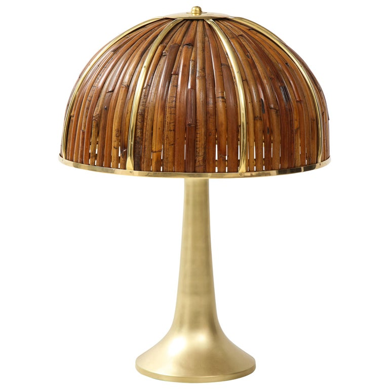 Gabriella Crespi Large Bamboo and Brass 'Fungo' Table Lamp For Sale