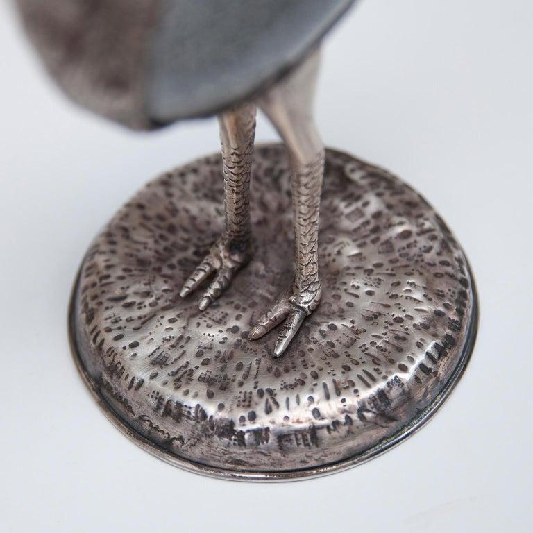 Silver Plate Gabriella Crespi Ostrich Sculpture, Italy, 1970 For Sale