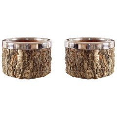 Gabriella Crespi Pair of Cork and Chrome Bowls with Glass Inserts, 1970s