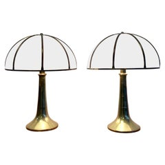 Gabriella Crespi Pair of Fungo Brass and Plexiglass Table Lamps, 1970
