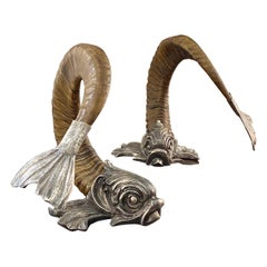 Gabriella Crespi Pair of Silver and Horn Dolphins