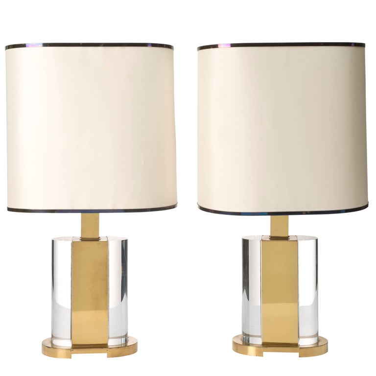 Gabriella Crespi Pair of Table Lamps, Signed with Original Shades in Silk For Sale