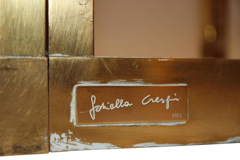 Brass Gabriella Crespi Puzzle Table, Impressed with Facsimile Signature For Sale