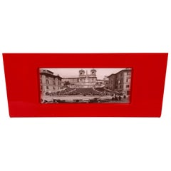Gabriella Crespi Rectangular Red Picture Frame Photo in Lucite, Italy, 1970s