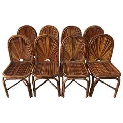 Gabriella Crespi Rising Sun Collection Rattan Chairs, Set of 8
