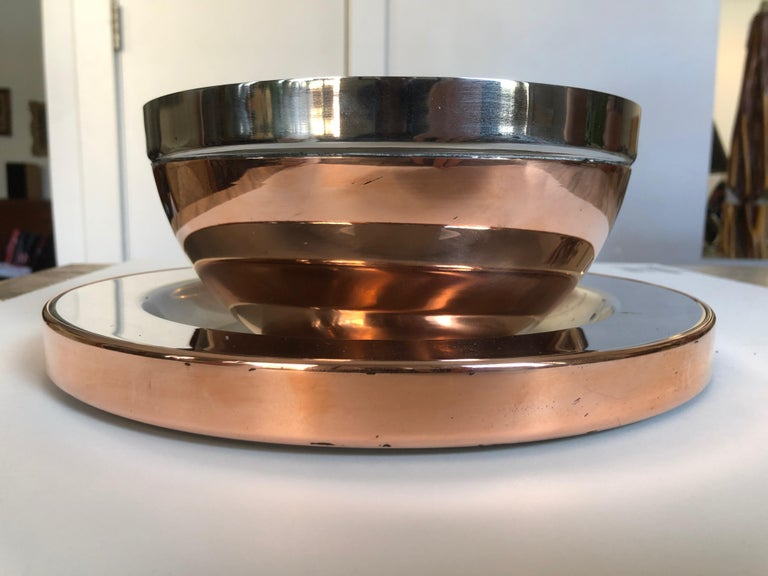 Gabriella Crespi Steel and Copper Charger For Sale 2