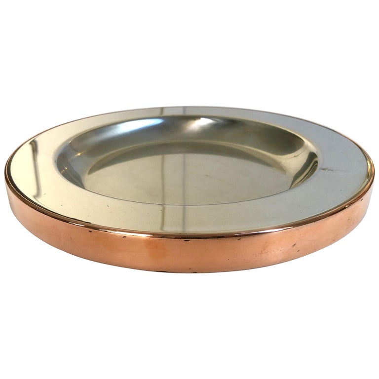 Gabriella Crespi Steel and Copper Charger For Sale