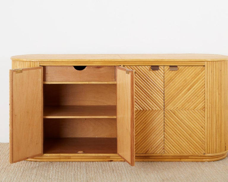 Gabriella Crespi Style Bamboo Rattan Sideboard Server For Sale 2