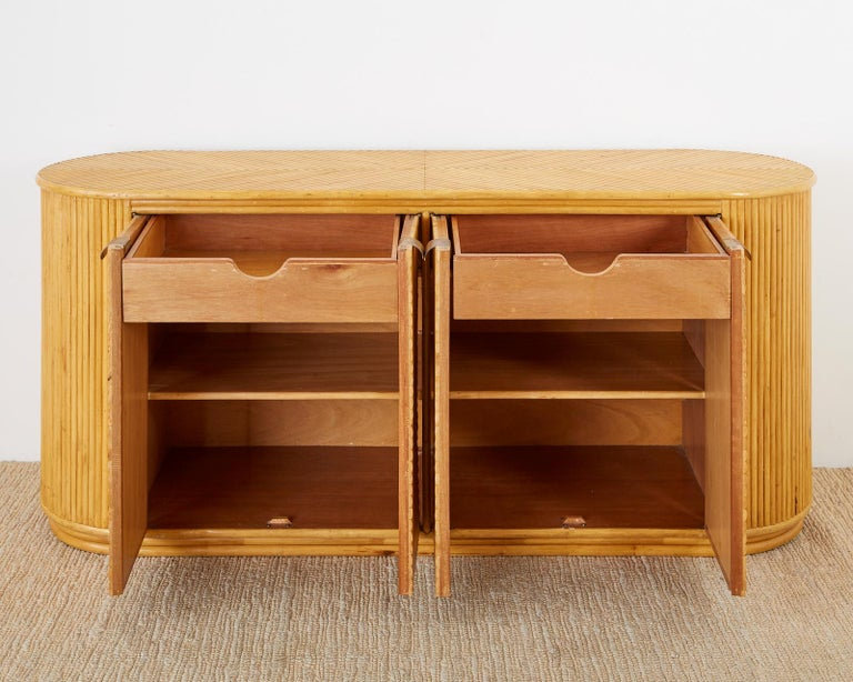 Gabriella Crespi Style Bamboo Rattan Sideboard Server For Sale 4