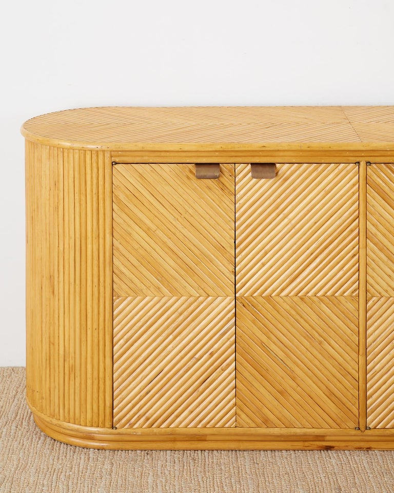 Gabriella Crespi Style Bamboo Rattan Sideboard Server For Sale 5