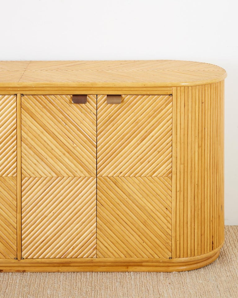 Gabriella Crespi Style Bamboo Rattan Sideboard Server For Sale 6