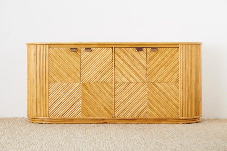 Art Deco Gabriella Crespi Style Bamboo Rattan Sideboard Server For Sale