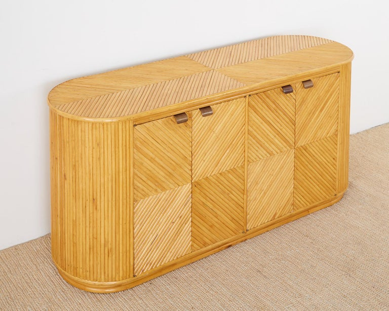 Italian Gabriella Crespi Style Bamboo Rattan Sideboard Server For Sale